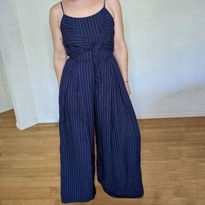 Flying Tomato Pinstripe Jumpsuit Navy Blue Small